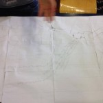 5 e bozzetto di prova su mattonicini finti